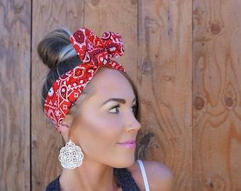 Vintage Inspired Red Bandana Pinup Dolly Bow Headband || Rockabilly Head Band w/ Wire Hair White Black Fashion Retro Rosie Wrap