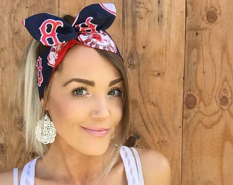 Boston Red Sox Dolly Bow Reversible Pin Up Rockabilly Dolly Bow Twist Tie Up Baseball Headband Headscarf Hair Band Head Wrap Accessories