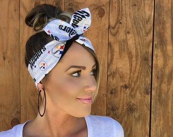 Pittsburgh Steelers Dolly Bow || Pinup Rockabilly Dolly Bow Tie Headband Yellow Black Red Football Headscarf Hair Band Head Wrap Accessories