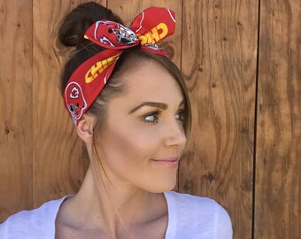 Kansas City Chiefs Dolly Bow Reversible Red White Yellow Pinup Rockabilly Dolly Bow Tie Up Headband Headscarf Hair Girl Head Wrap