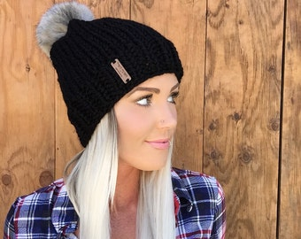 The Little Black Hat || Wool Knit Cap w/ Faux Fur Grey Pom Pom Wool Hair Earwarmer Accessory Knit Fashion Chunky Bulky Accessories Men Girl