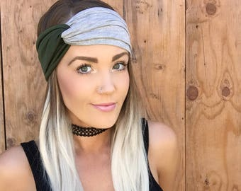 Boho Olive Green + Light Grey Turban Headband || Stretch Workout Jersey Knit Cotton Gray Hair Band Bohemian Festival Accessory Girl Woman