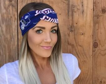 New York Giants Vintage Style Turban Headband || Hair Band Football Accessory Cotton Workout Yoga Fashion Red White Blue Head Scarf Girl
