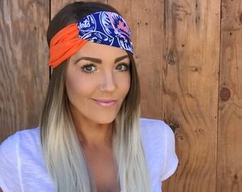 New York Mets Vintage Pinup Turban Headband || Hair Band Baseball Accessory Cotton Workout Yoga Fashion Royal Blue White Orange Head Scarf