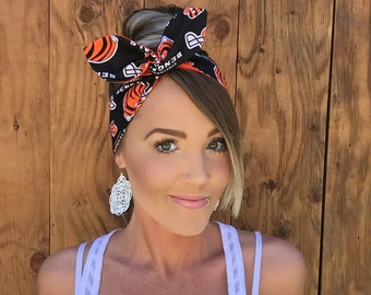 Cincinnati Bengals Dolly Bow Reversible Black White Orange Pinup Rockabilly Dolly Bow Tie Headband Hair Head Ohio Accessories Pinup Sport