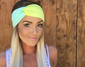 Boho Mint Blue + Lime Yellow Green Turban Headband || Stretch Yoga Workout Jersey Knit Cotton Hair Band Bohemian Festival Accessory Girl