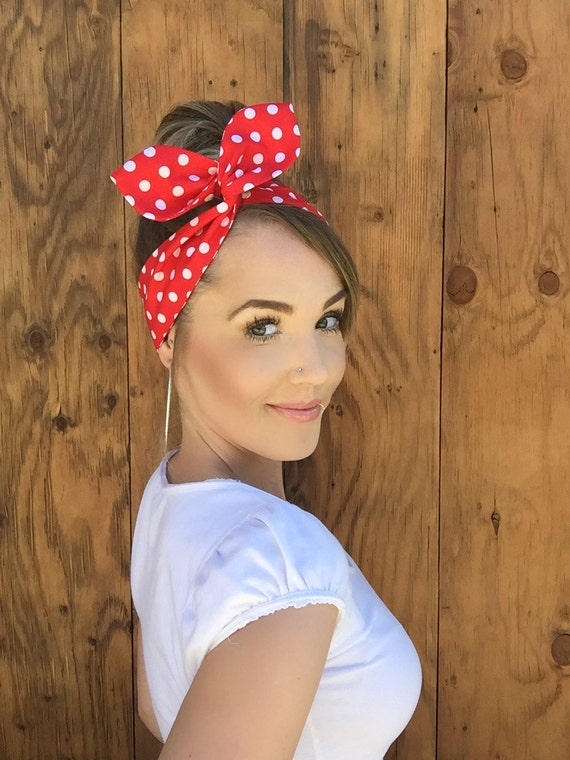 Vintage Inspired Red White Polkadot Pinup Dolly Bow Headband  6ddea96554e