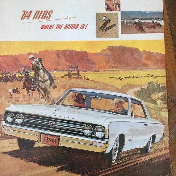 Vintage Oldsmobile F85 Cutlass 1964 Magazine Ad, Western Cowboy, Mid  Century, MCM, Man Cave, Garage Decor