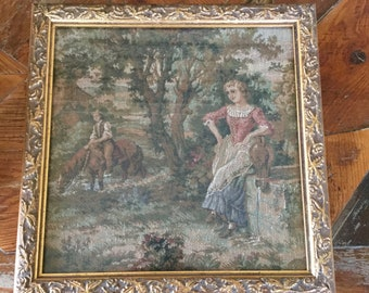 Vintage French Tapestry Picture, Square Frame, French Country, Romantic Victorian, Hollywood Regency
