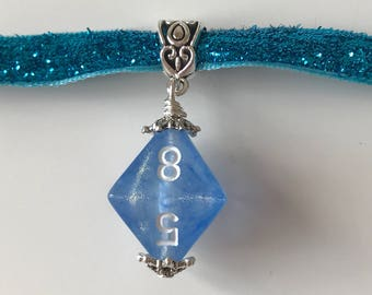 dice choker D8 borealis dice pendant D20 dice choker blue dice necklace pathfinder jewelry dnd rpg geek dungeons and dragons choker dice