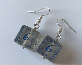 D6 dice earrings elven D20 dungeons and dragons jewelry dnd dungeon master gift for her geek girl stranger things critical role rpg larp