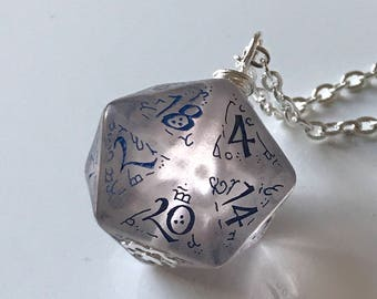 dice jewelry D20 necklace elf dungeon master christmas gift for her geek girl critical role for him geek guy stranger things pathfinder dnd