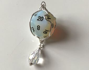 D20 opalite dice pendant crystal dice gemstone d20 dice jewelry dungeons and dragons opal dice necklace dnd precious gem dice mage studio