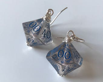 D100 dice earrings elven D20 dungeons and dragons jewelry dnd dungeon master gift for her geek girl stranger things critical role rpg larp