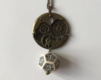 D12 steampunk dice pendant steam punk necklace dungeons and dragons gamer girl dungeon master stranger things larp geek D20 pathfinder dnd