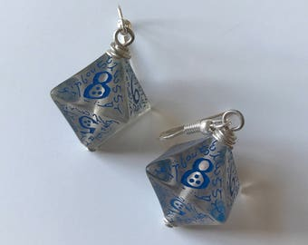 D8 dice earrings elven D20 dungeons and dragons jewelry dnd dungeon master gift for her geek girl stranger things critical role rpg larp