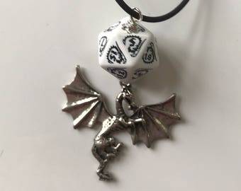 dnd dragon necklace dungeons and dragons pendant D20 dice necklace dungeon master christmas gift for boyfriend gift for geek guy geek gift