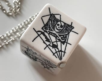 Pirate dice D6 pendant dice necklace dice jewelry pirate map dice geek geekery dungeons and dragons dice pendant white black pathfinder dice