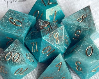 Marble Teal with copper- 7pcs  resin handmade Dice set + coin