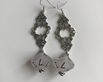 D10 dice earrings D20 jewelry dungeons and dragons christmas gift for geek girl dungeon master for her stranger things critical role dnd rpg