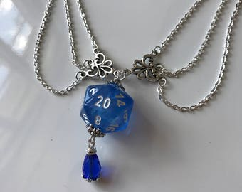dungeons and dragons pendant dice blue necklace D20 borealis dungeon master christmas gift for her geek gift for geek girl stranger things