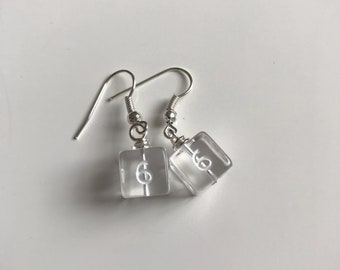 Miniature D6 clear dice earrings mini dice earring dice jewelry pathfinder dungeons and dragons dice jewellery polyhedral dice mage studio