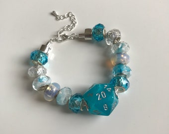 D20 dice bracelet dungeons and dragons jewelry blue white dungeon master gift for her geek girl tabletop stranger things table top gamer dnd