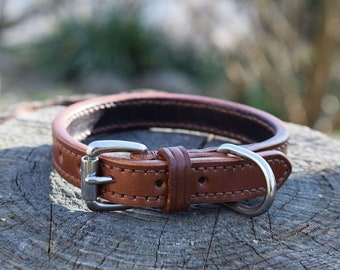 Lined Leather Dog Collar - size S - Made to Measure - Handstitched in Italy - 100 Color Combinations - Stainless Steel - Solid Brass