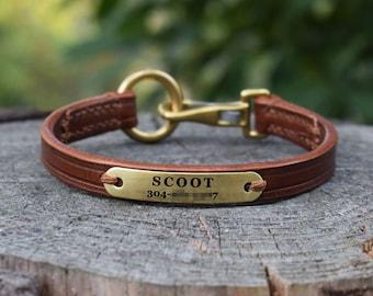 Leather ID Tag Dog collar - size XS
