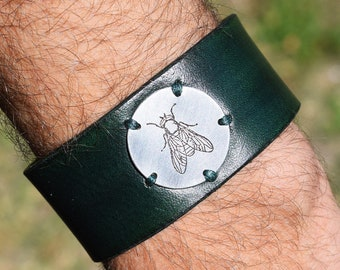 """Leather Bracelet with Etched Aluminium Tag - 1"""" 1/8 wide - Social Gadfly - Made on Measure - Custom Etching on Aluminium or Brass"""