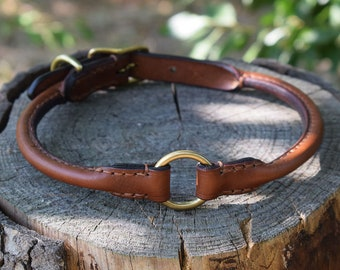 Rolled Leather Dog Breakaway Collar - size M