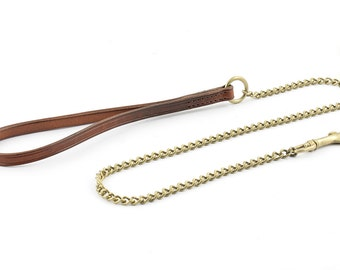 1 m Chain Dog Leash with Flat Leather Handle - size S