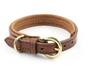 Thin Padded Leather Dog Collar - size S