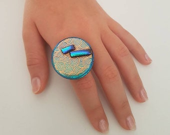 Blue And Gold Spiral Fused Glass Ring, Spiritual Jewelry Gift
