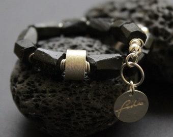 sterling silver, tourmaline bracelet, silver bracelet, black bracelet
