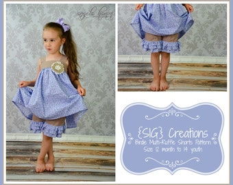 SIG Birdie Multi-Ruffle Shorts PDF Pattern - Size 12 month to 14 youth with 18 inch doll pattern