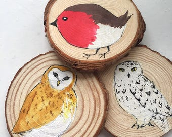 choose 2 bird holiday ornaments christmas birds decorations barn owl snowy owl robin ornament two christmas decorations robin owl decor