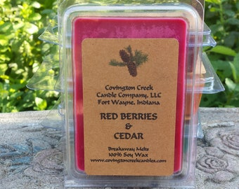 Red Berries and Cedar Pure  3 or 6 ounce Soy Breakaway Melt