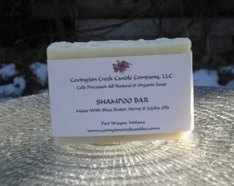 Shampoo Bar with Tea Tree Oil, Jojoba Oil, Shea Butter and Hemp Oil Unscented Organic Cold Process Soap.