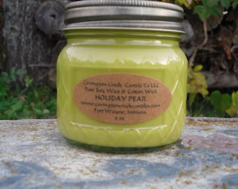 Holiday Pear 8 oz Pure Soy Covington Creek Candle Company