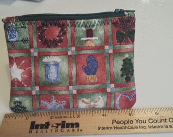 Zippered Coin Purse, Holiday Coin Purse, Winter Coin Purse, Gift Card Holder
