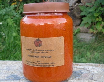 Pumpkin Thyme  26 oz Soy in a Primitive Jar with a Rusty Lid with Ring  Available in Dye Free.