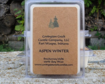 Aspen Winter 3 or 6 ounce Soy Breakaway Melt. Winter scent, Christmas scent, Outdoor Scent, stocking stuffer, teacher gift, co worker gift