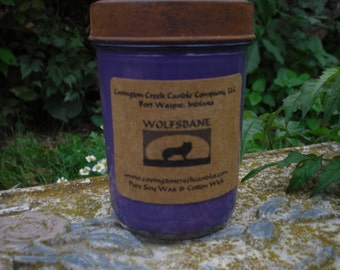 Halloween Wolfsbane 8 oz  Pure Soy Candle with Rustic Lid