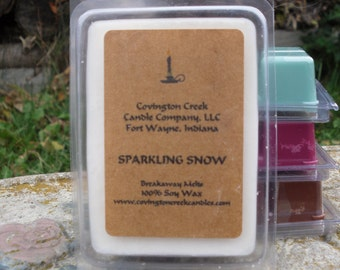 Sparkling Snow 3 or 6 ounce Soy Covington Creek Candle Company  Breakaway Melt