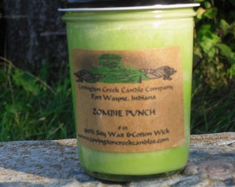 Halloween ZOMBIE PUNCH 8 oz Pure Soy Covington Creek Candle Company