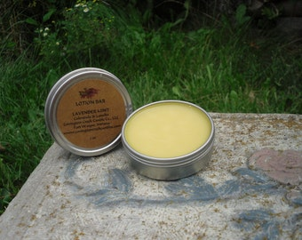 Lavender Mint 1.5 oz  Solid Lotion with Calendula, Aloe Vera, Lanolin,  Hemp All Natural including Organic Ingredients.  Preservative Free