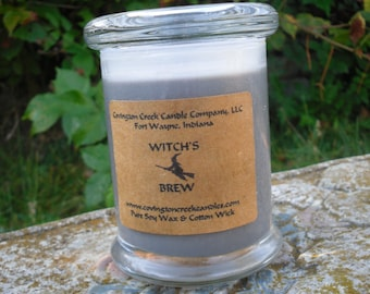 Witches Brew Halloween 8 ounce Soy Candle.  Your Choice of New Moon, Witch's Brew, Cider Web, Dragon's Blood , Wolfsbaine, Zombie Punch.