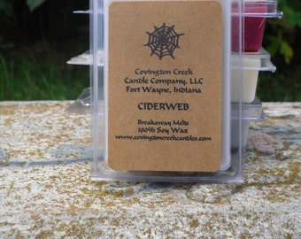 Halloween Candle Cider Web  3 or 6 ounce Soy Breakaway Melt