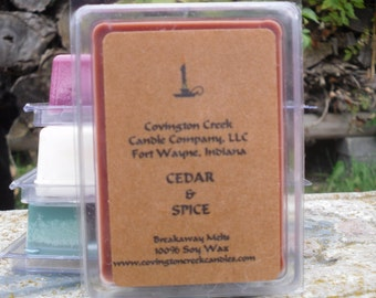 Fall Scent Cedar & Spice 3 or 6 ounce Soy Breakaway Melt.